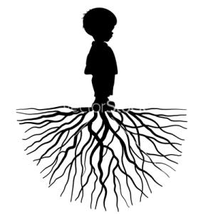 The silhouette of a child with root
